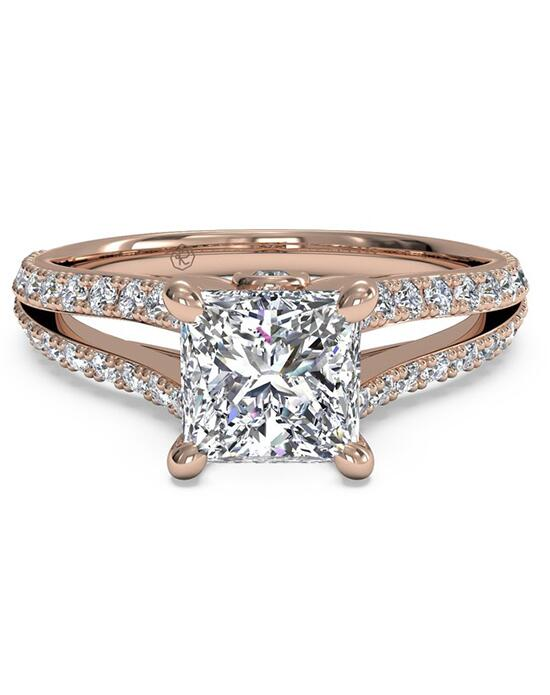 Ritani Double French-Set Diamond 'V' Engagement Ring with Surprise Diamonds - in 18kt Rose Gold (0.24 CTW) for a Princess Center Stone Engagement Ring photo