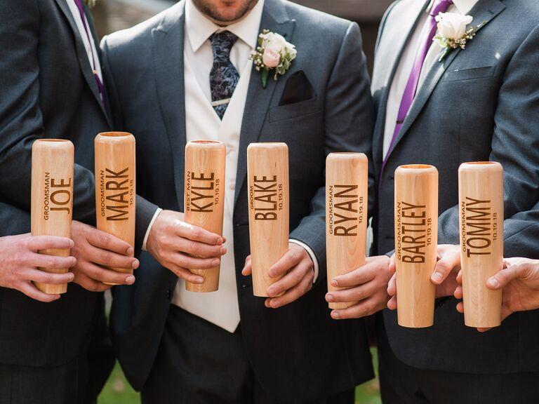 Baseball bat mug groomsmen proposal gift