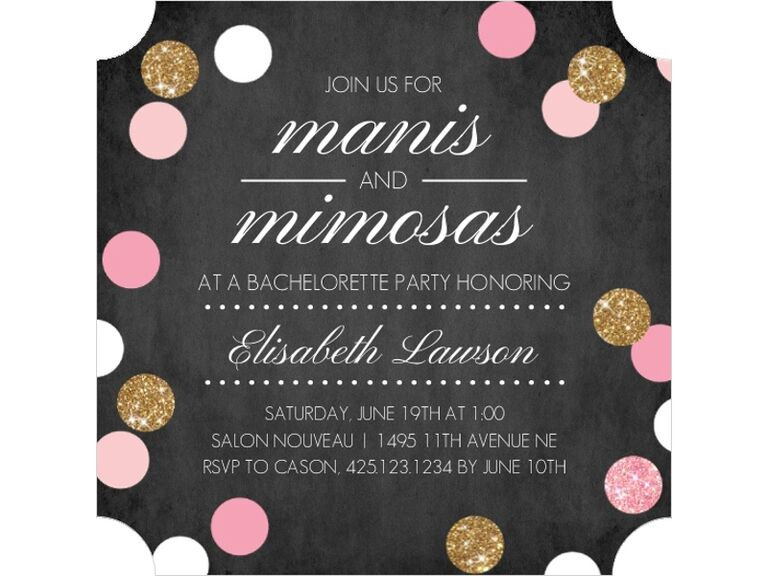 Faux Glitter Manis and Mimosas Bachelorette Party Invitation