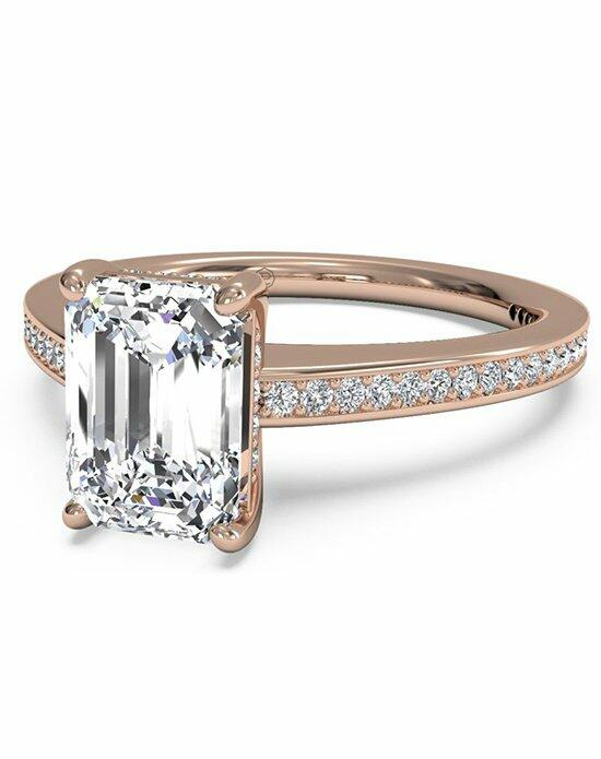 Ritani Emerald Cut Diamond Micropave Band Engagement Ring in 18kt Rose Gold (0.20 CTW) Engagement Ring photo