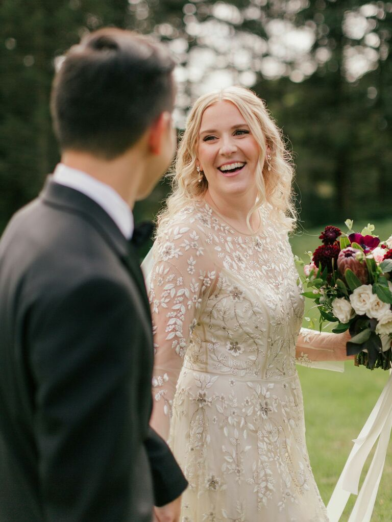 Cottagecore wedding dress with floral embroidery