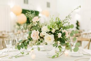 Romantic Rose and Greenery Centerpiece