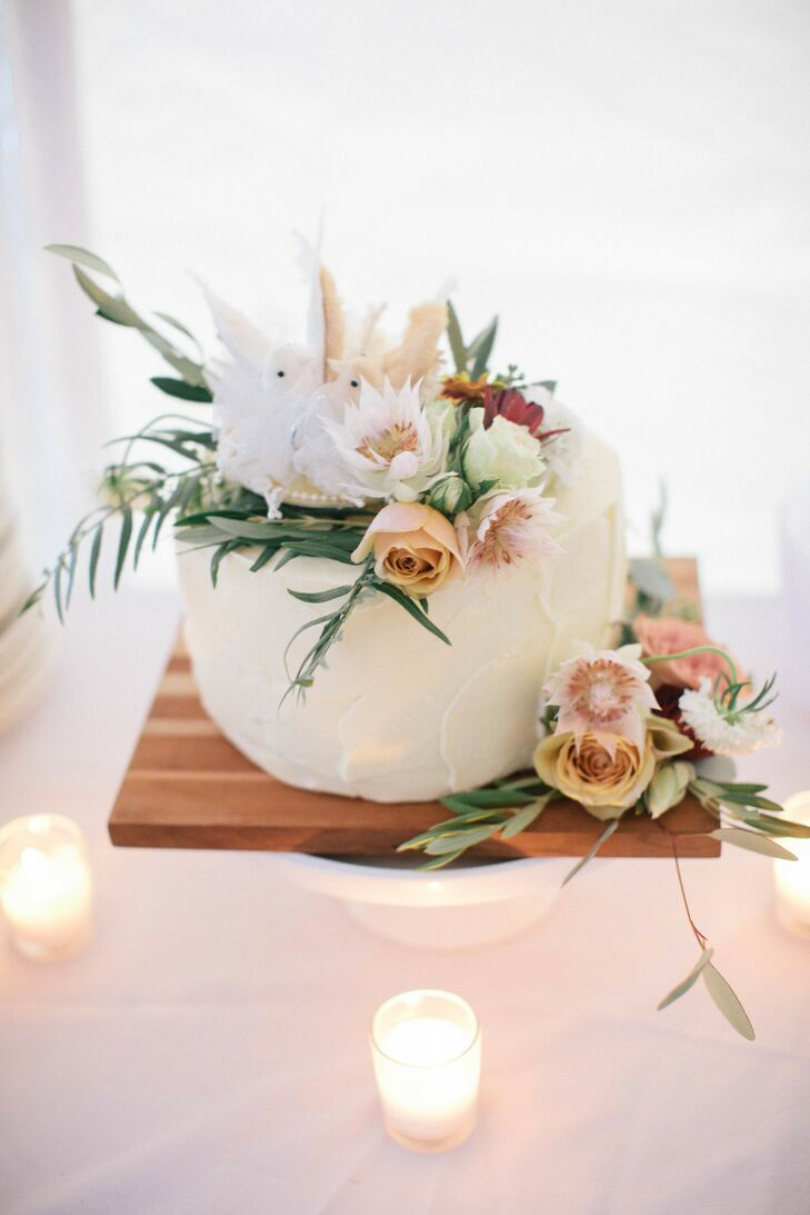 Single Tier White Cake Topped with Roses, Protea and Eucalyptus