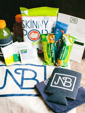 Casual Welcome Bags with Snacks, Monogram and Koozies