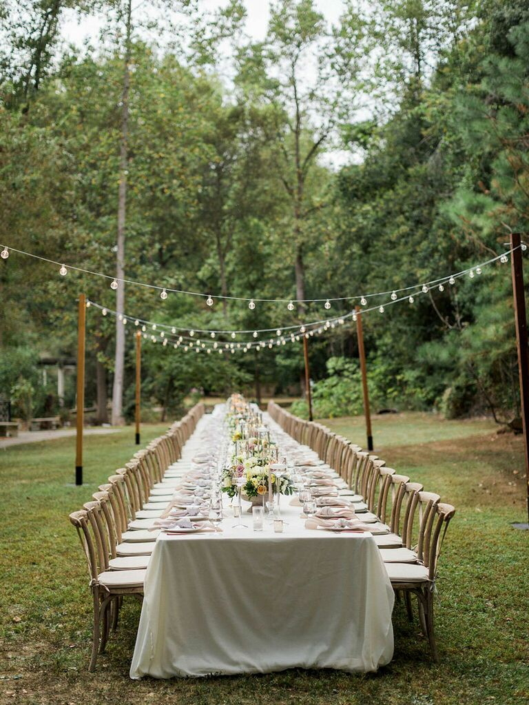 Cottagecore wedding string lights at reception