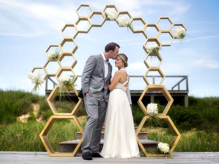 Gold Geometric Honeycomb Arch