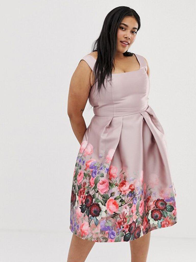 Short plus size floral bridesmaid dress