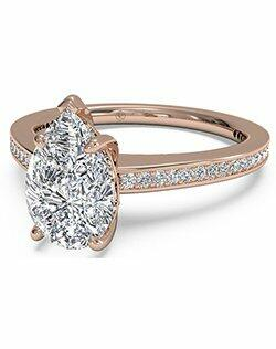 Ritani Pear Shaped Diamond Micropave Band Engagement Ring in 18kt Rose Gold (0.20 CTW) Engagement Ring photo