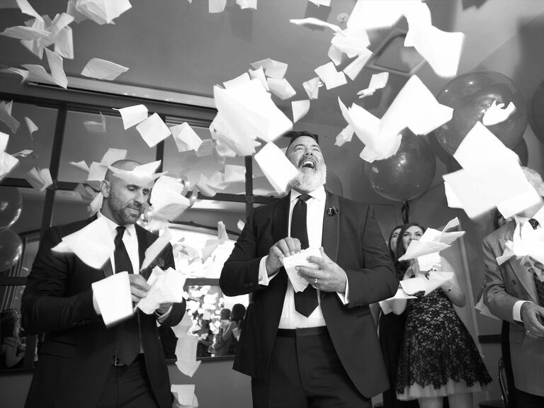 Napkin toss at end of wedding ceremony
