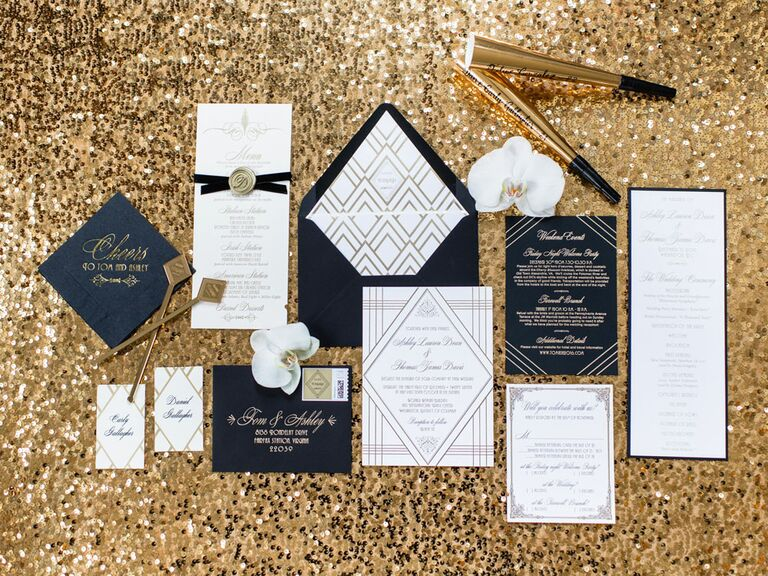 Art deco black and gold Great Gatsby-inspired wedding invitation suite