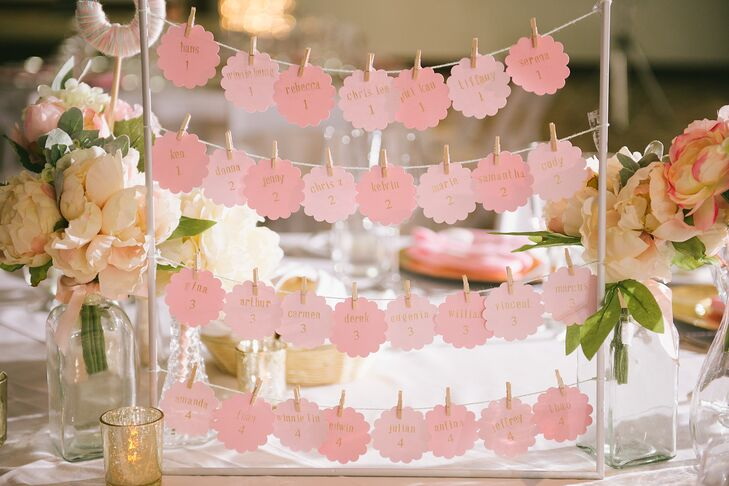 This simple escort card display is so cute for a classic romantic wedding. (And it's easy to transport if you're bringing it with you for a destination wedding.)
