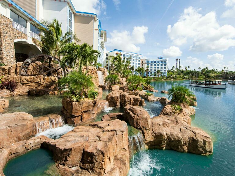 Resort in Orlando showing water feature and boat