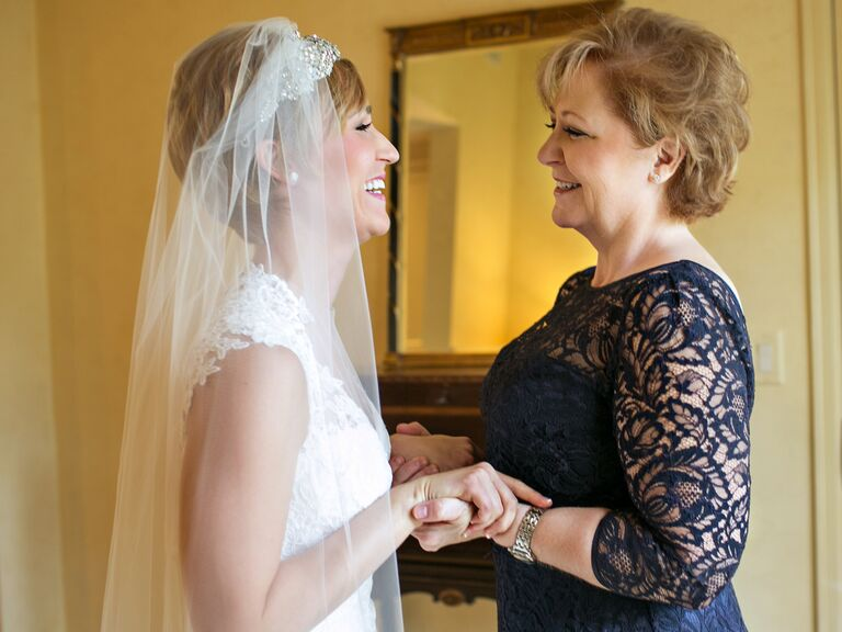 mother of the bride and bride getting ready photo
