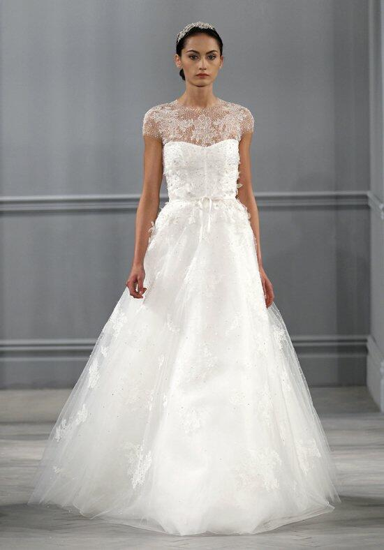 Monique lhuillier illusion wedding dress the knot for Price of monique lhuillier wedding dresses