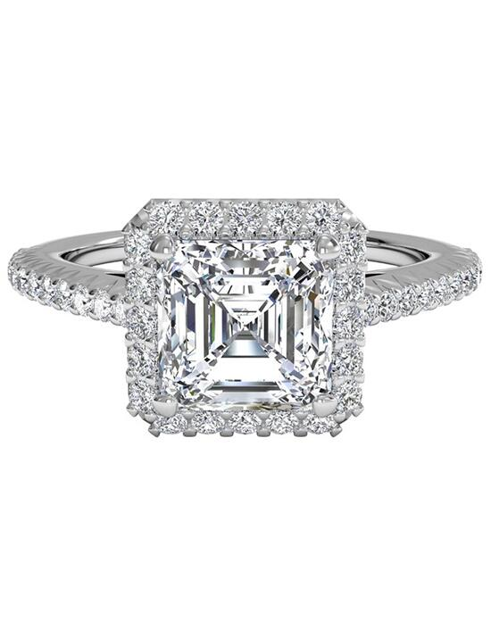 Ritani French-Set Halo Diamond Band Engagement Ring - in 14kt White Gold (0.21 CTW) for a Asscher Center Stone Engagement Ring photo