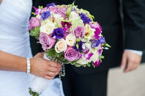 Purple and Ivory Rose and Iris Bouquet with Rosary