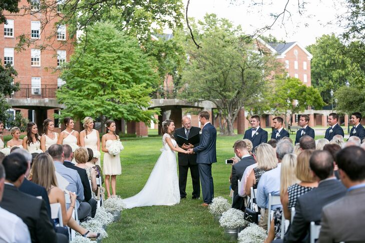 """""""The color palette were all natural colors, really bringing the colors of nature and the outdoors into the wedding,"""" says the couple."""