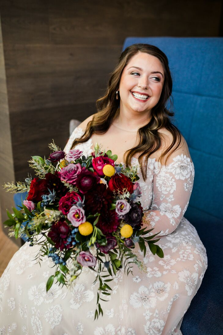 Bride Holding Jewel Tone Bouquet for Wedding at Toledo Country Club in Ohio