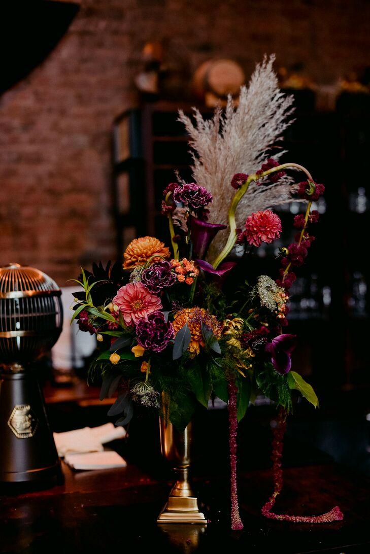 Vibrant and Moody Floral Arrangement for New York Wedding