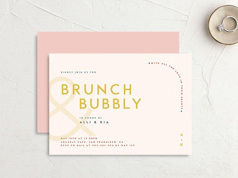 Pastel pink background with Brunch Bubbly in bold gold type