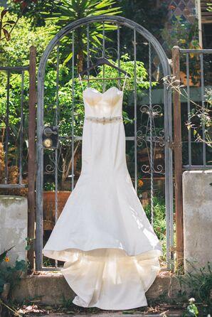 Ivory Strapless Wedding Dress, Crystal Belt