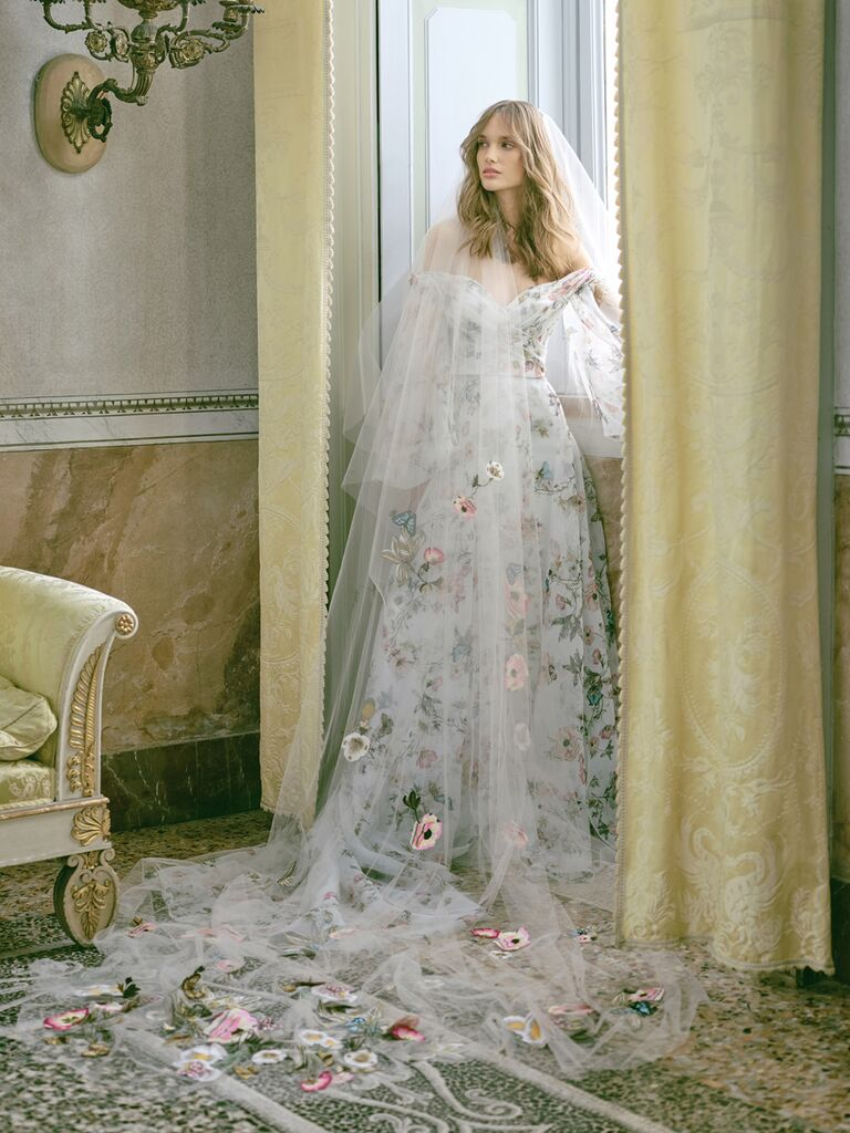 monique lhuillier dress with colorful flowers and veil