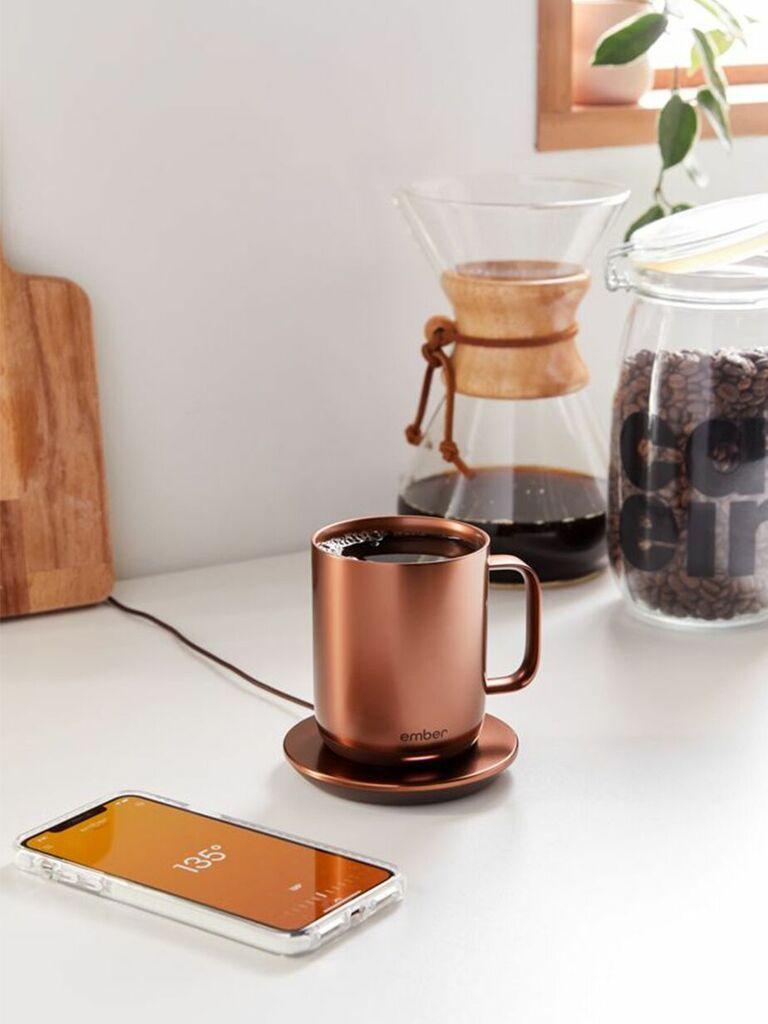 Copped-toned temperature control mug and coaster