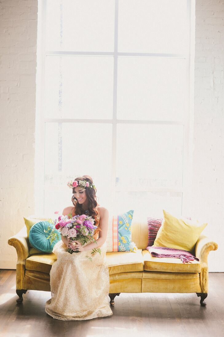 """""""I wanted a unique but beautiful bohemian glam look,"""" Carissa says of her gold gown. She accessorized with a floral crown."""