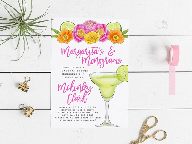 Colorful florals and lime graphics on top border, 'Margaritas and mimosas' in pink script and margarita graphic on white background
