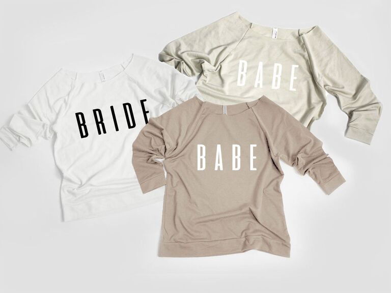 bride and babes bachelorette party sweatshirts