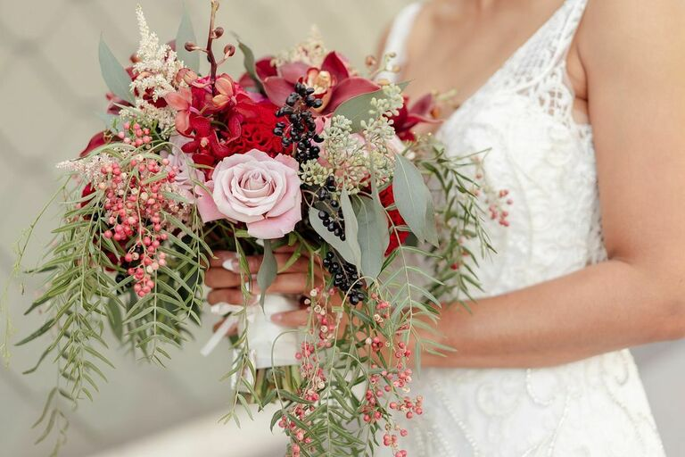 Red bouquet with eucalyptus