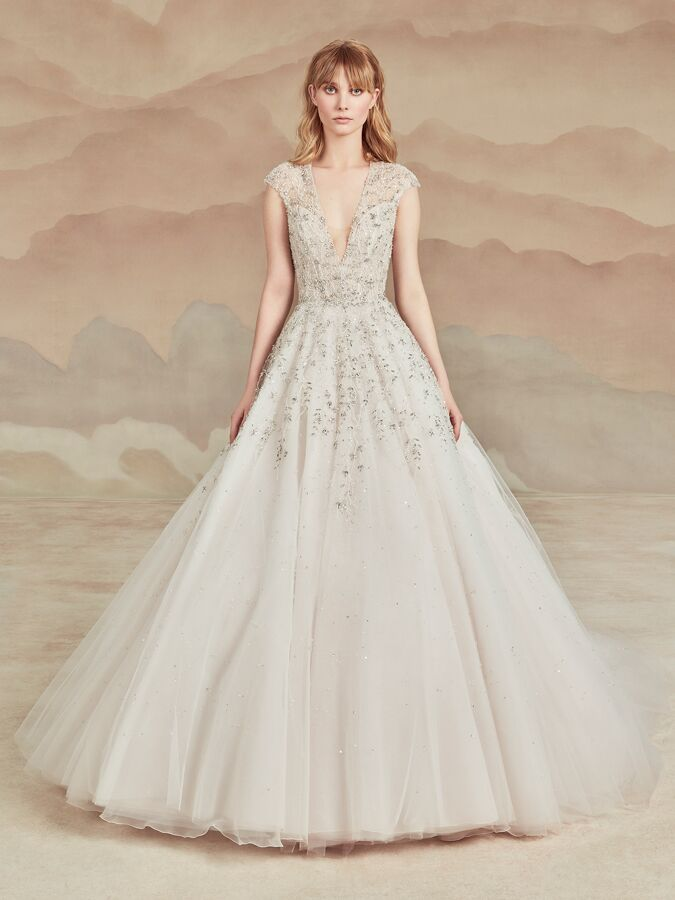 Ines Di Santo V-neck ball gown with beaded embellishments