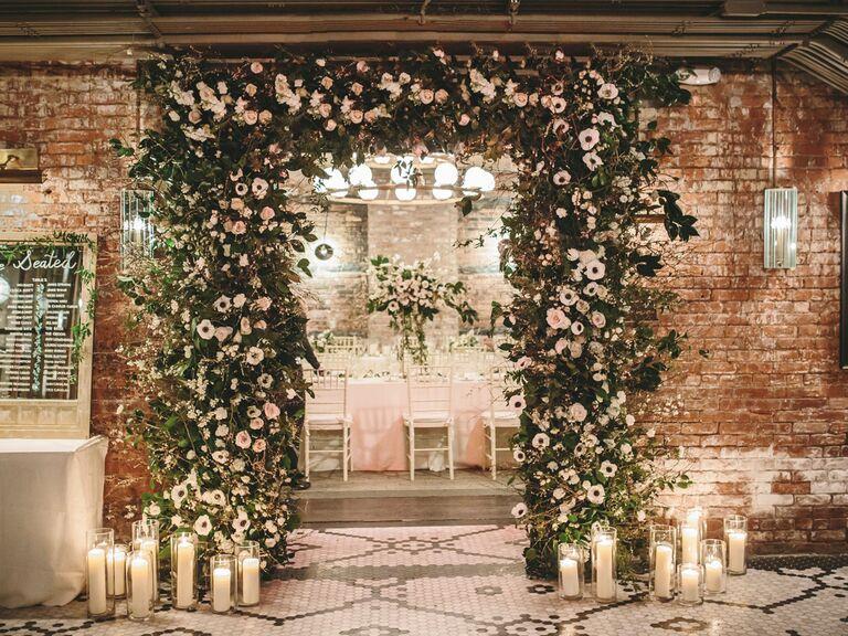winter wedding ideas white floral arch