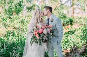 Coral-Pink Peony and Eucalyptus Bouquet