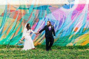 Couple Portraits in Front of Colorful Mural