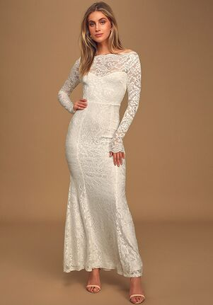 Lulus Farida White Lace Long Sleeve Maxi Dress Mermaid Wedding Dress