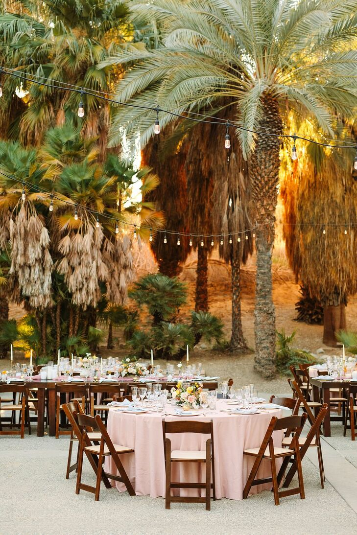 Reception With Folding Chairs and Round Tables at The Living Desert Zoo and Garden in Palm Desert, California