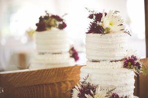 Purple and White Spider-Mum-Topped Cake