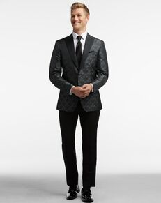 Men's Wearhouse Egara Charcoal Gray Jacquard Dinner Jacket Tux Tuxedo