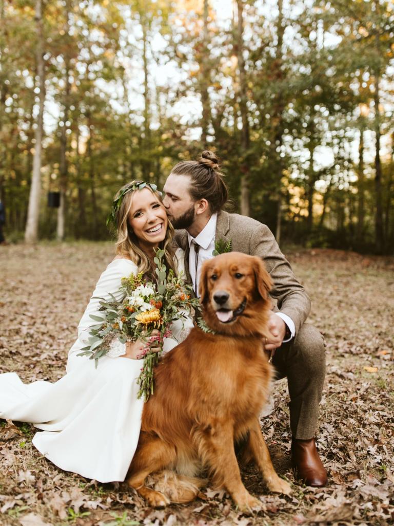 wedding season couple at fall wedding in woods