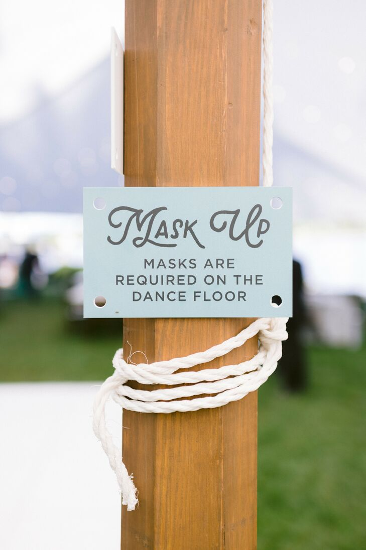 Mask Sign at Wedding Reception in Virginia