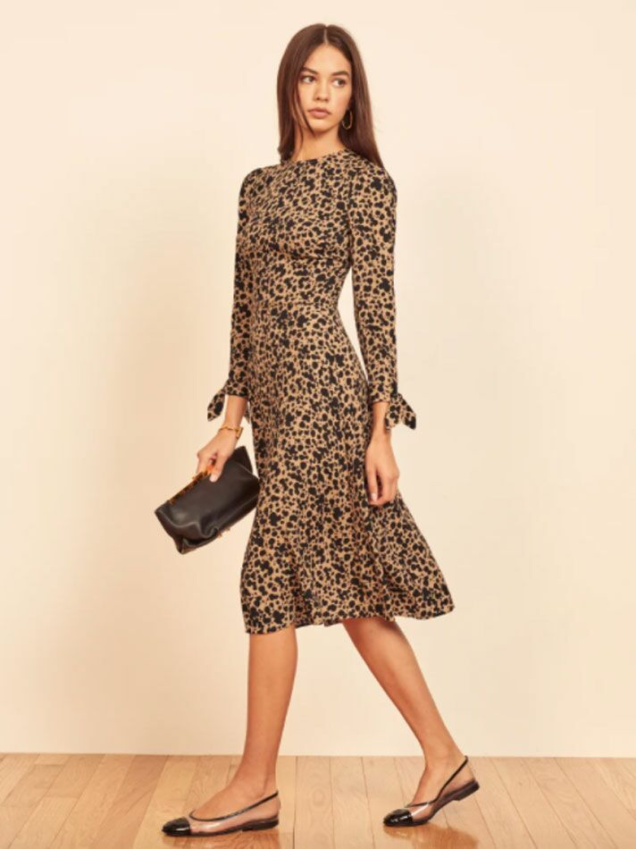 Black and neutral printed long sleeve wedding guest dress for fall