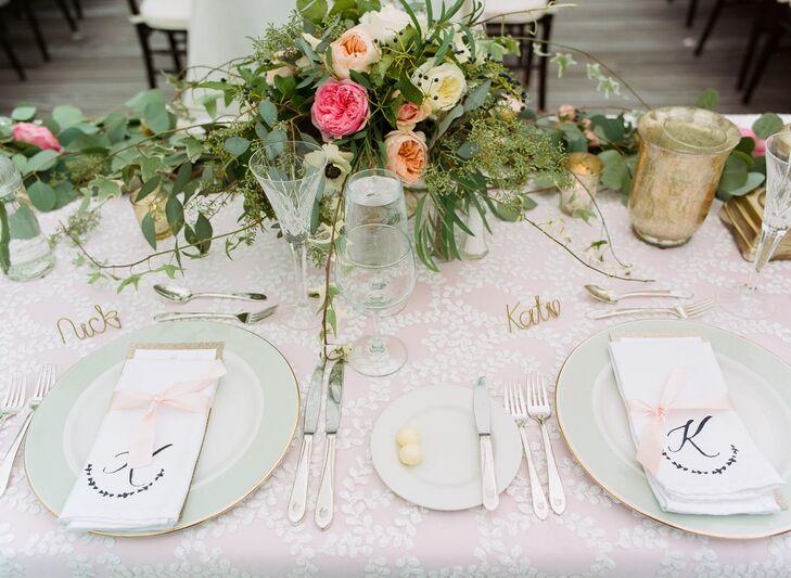 Blush Dining Table with Custom Menus