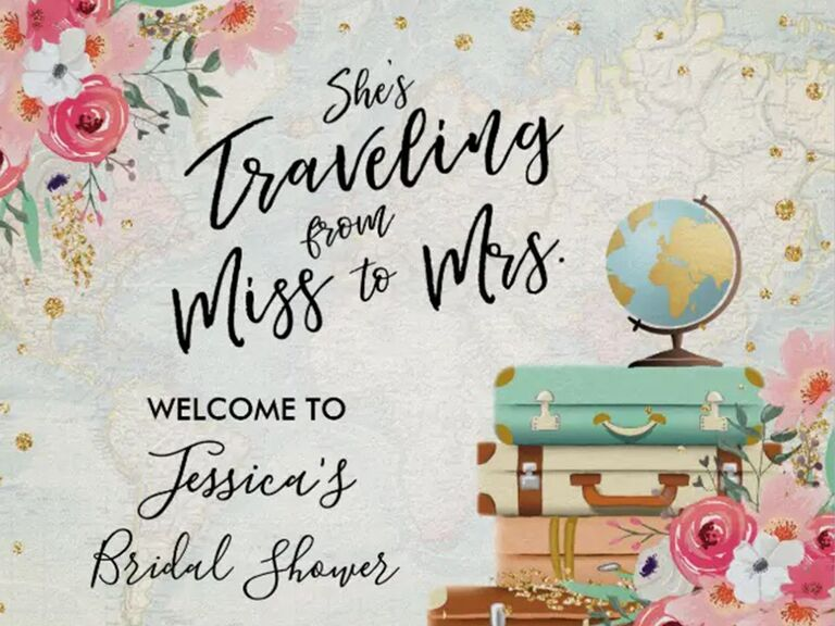 Type in black script with floral, globe and luggage graphics on faded map background with gold flecks