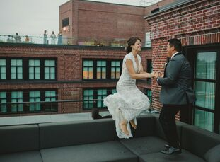 """To celebrate their love story, which began with a """"New Girl""""-worthy meet-cute, Julia and Randy welcomed guests to the rooftop of The Line Hotel in Was"""