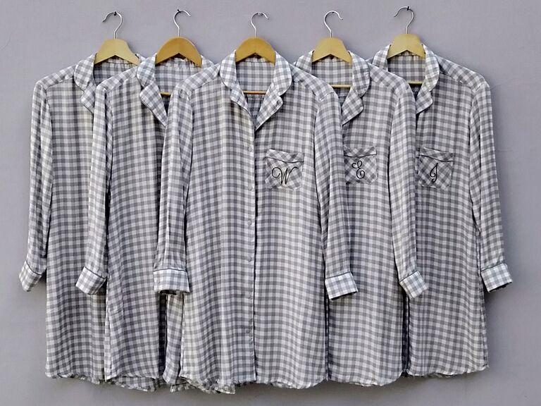 Plaid flannel pesonalized bridesmaid pajamas