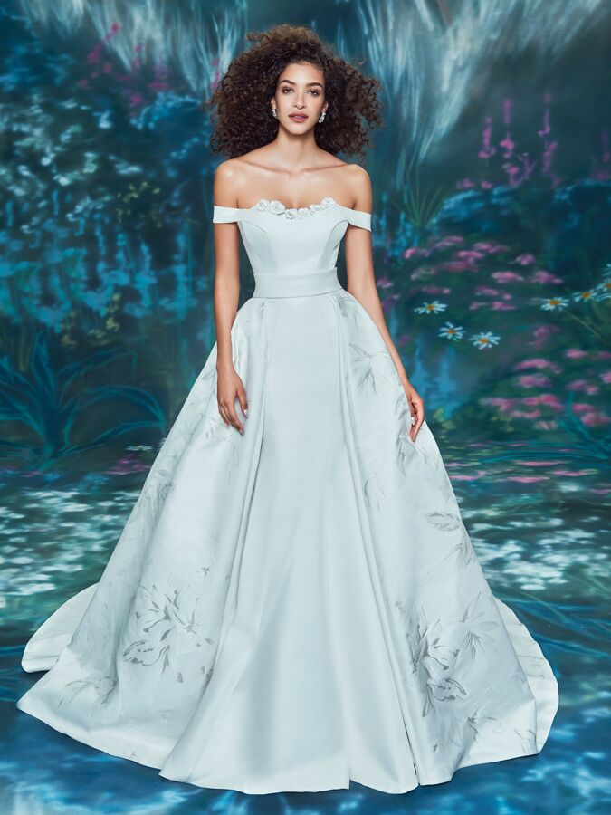 Ines Di Santo off-the-shoulder trumpet dress with overskirt