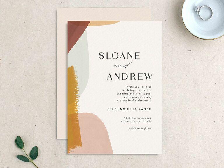 abstract design fall wedding invitation