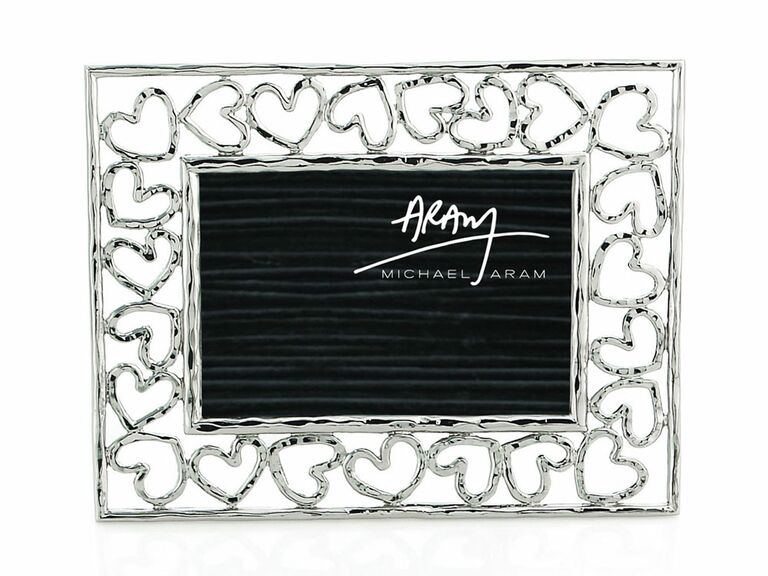 Silver wedding picture frame with heart-shaped accents