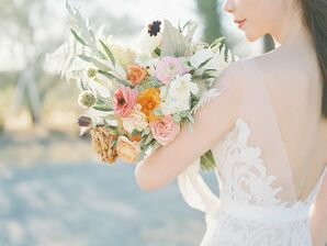 Boho Bride Carries Earthy-Tone Flower Bouquet of Roses, Anemones and Peonnies